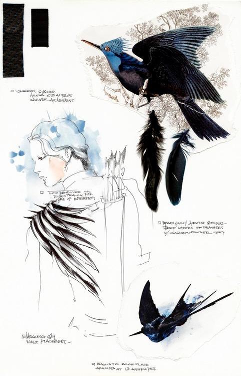 Mockingjay costume sketches